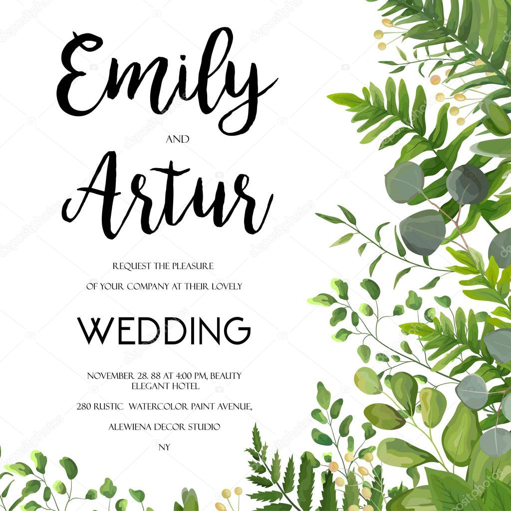 Wedding Invite Borders: Wedding Invitation, Floral Invite Card Design With Green