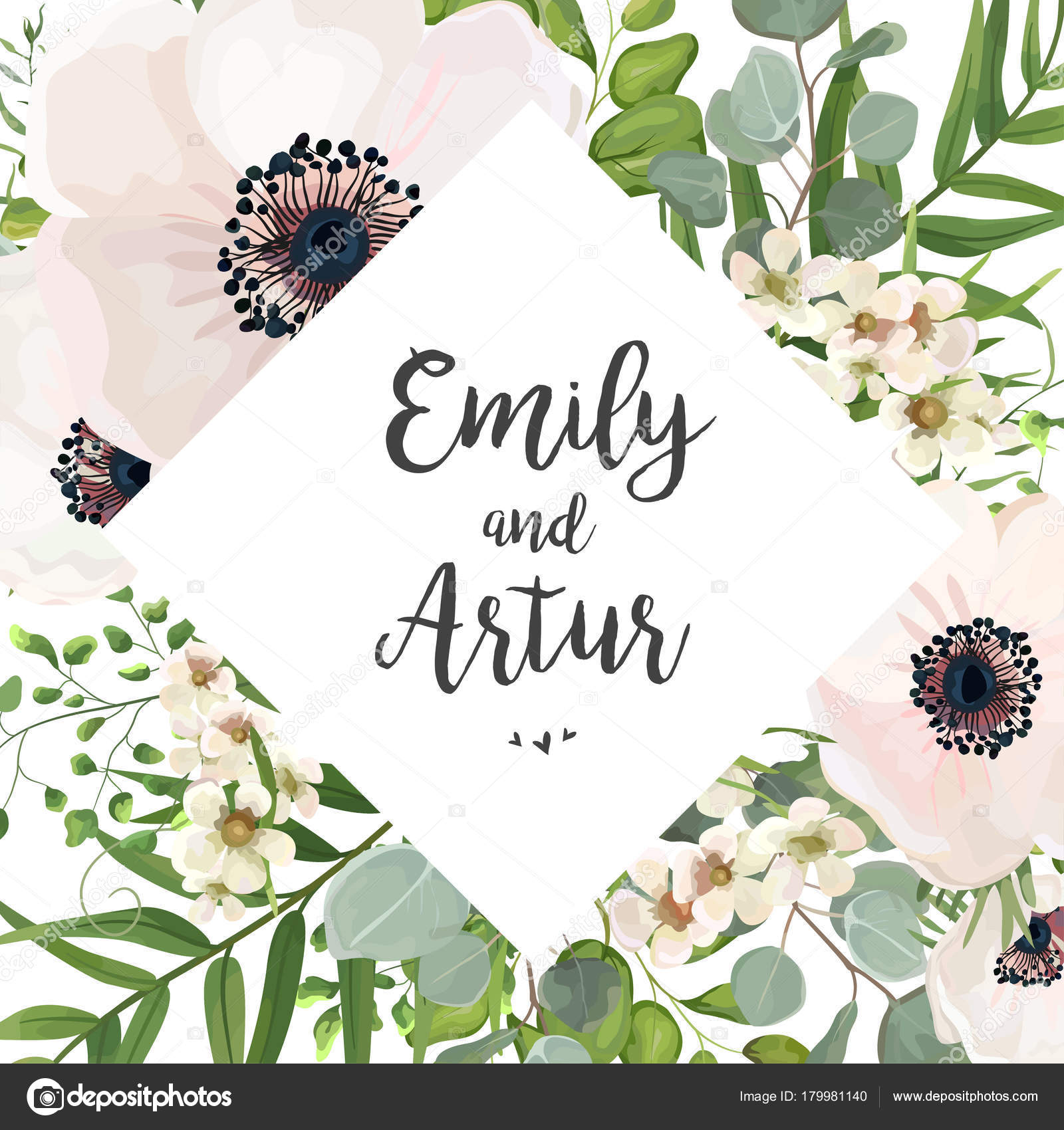 Vector floral wedding invite card design eucalyptus silver dollar foliage natural leaves rhombus frame in watercolor style vector decorative rustic invitation postcard elegant cute template vector by alewiena stopboris Image collections