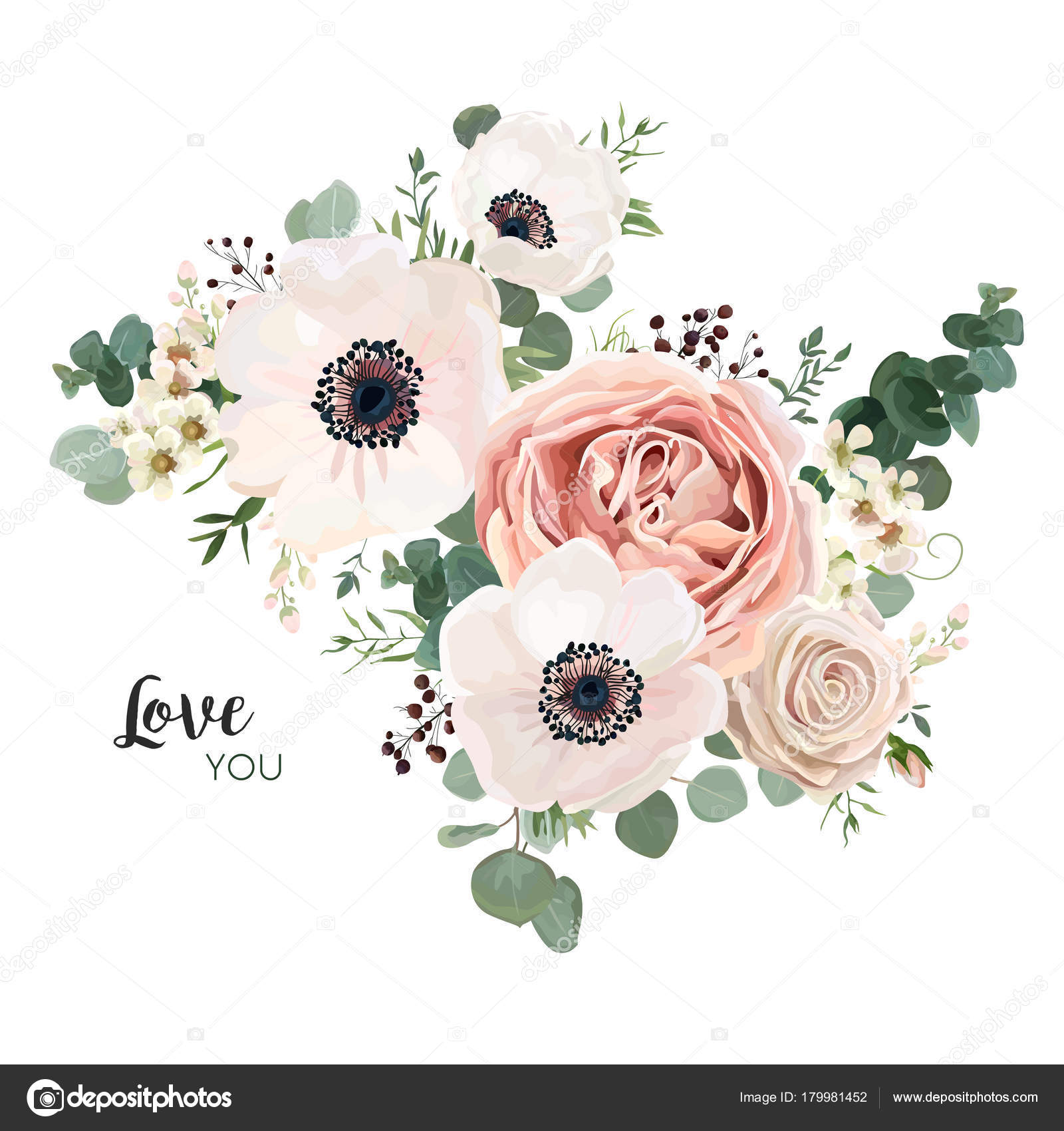 Floral card vector design garden flower lavender pink peach rose anemone wax green eucalyptus thyme leaves elegant greenery berry forest bouquet printding rustic invitation elegant invite vector by alewiena stopboris Image collections