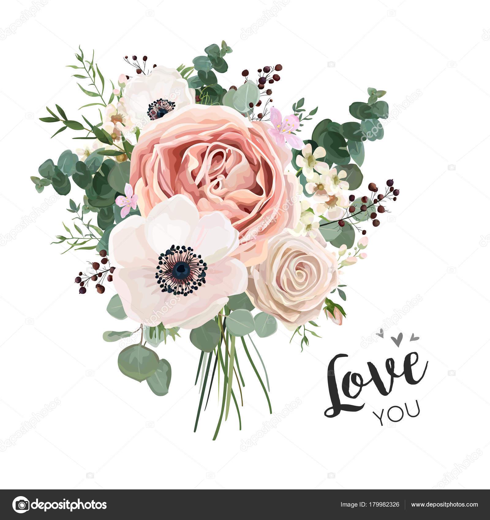 Flower Bouquet floral bunch, vector boho design object, element ...