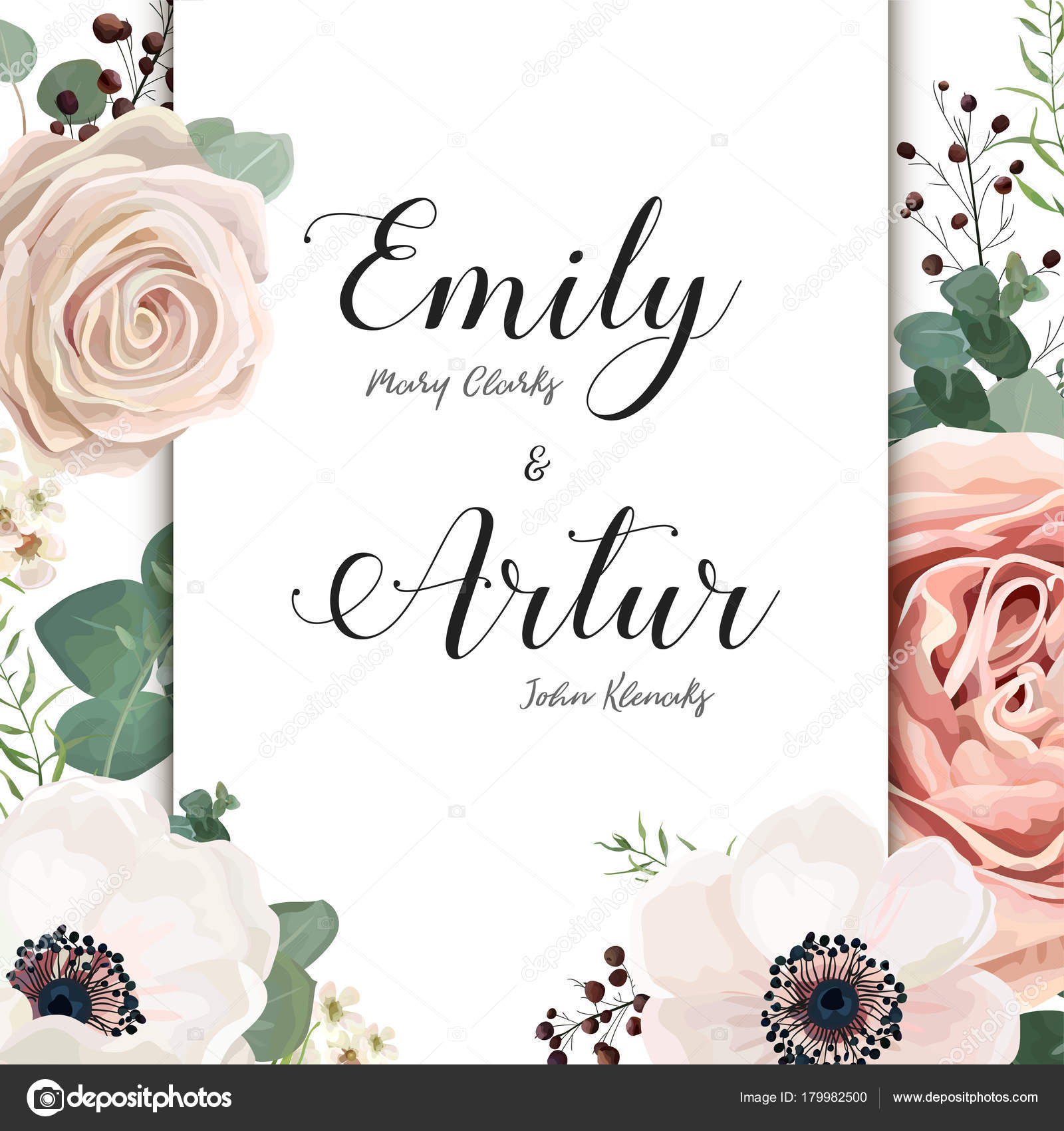 Floral Wedding Invitation elegant invite card vector Design: garden ...