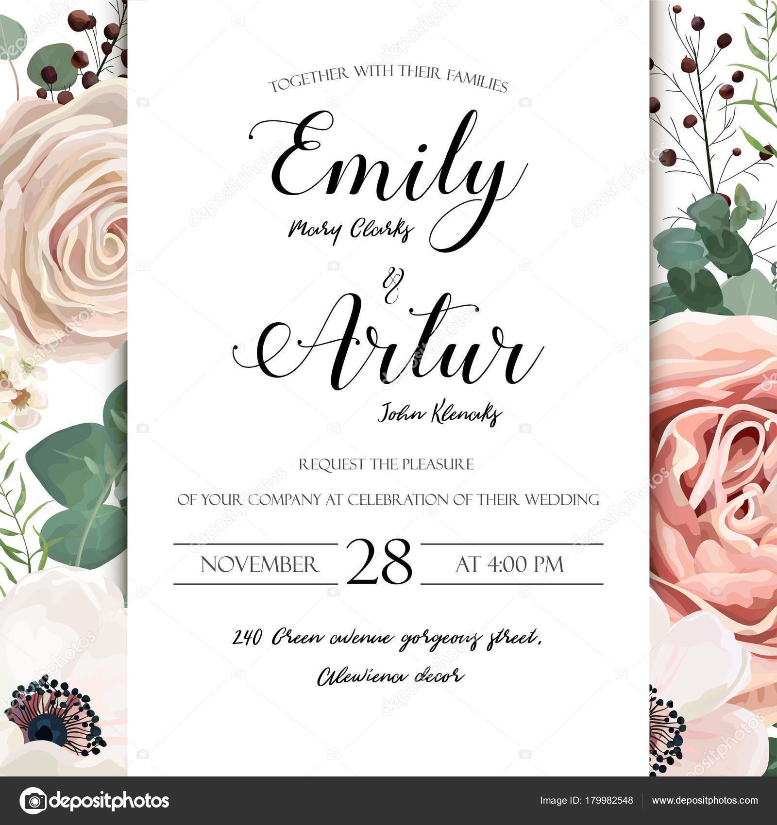 5 Blue Floral Wedding Invitation Card Vector Material: Floral Wedding Invitation Elegant Invite Card Vector