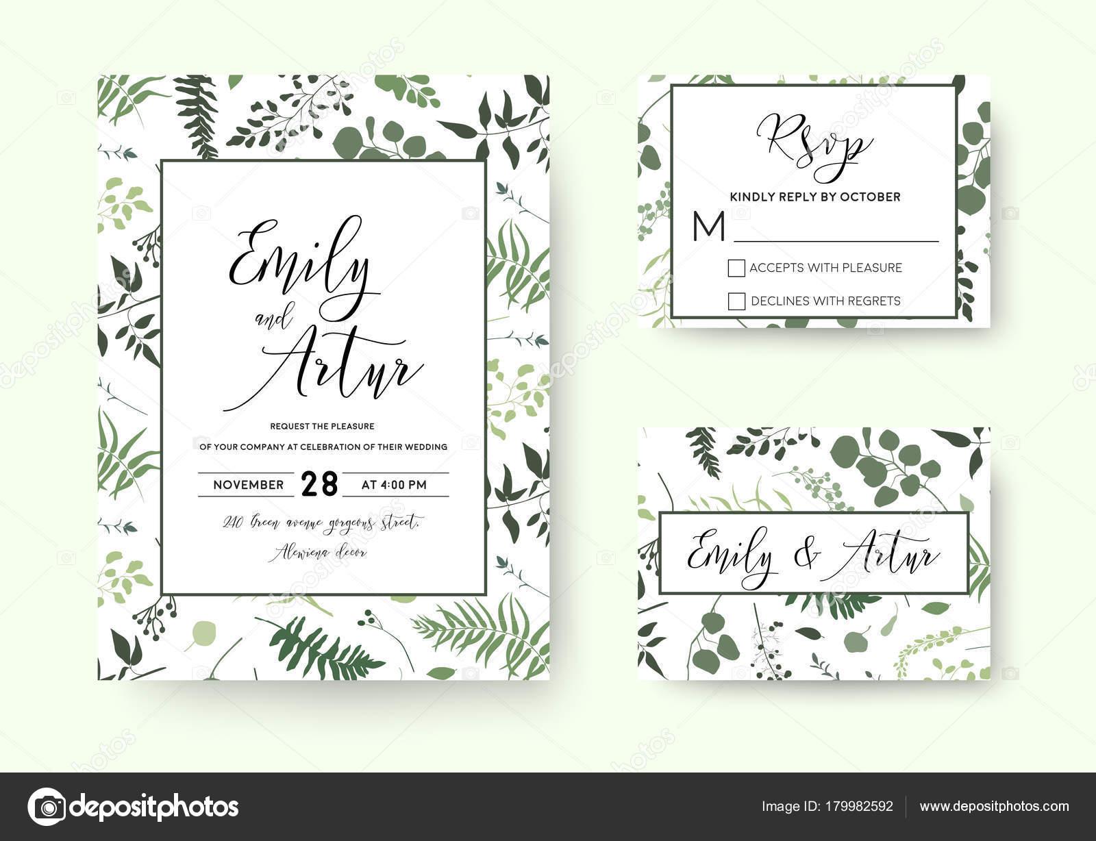 Hochzeitseinladung, Einladung Rsvp Karte Vektor Floral Grün Silhouette  Design: Palm Farn Baum