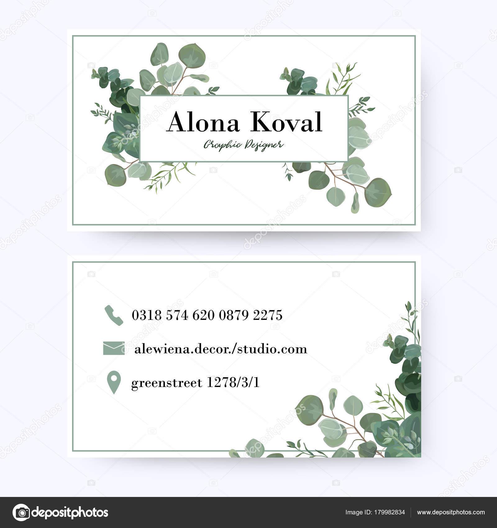 Diseño de tarjeta de visita floral. Plata de eucalipto rústico ...