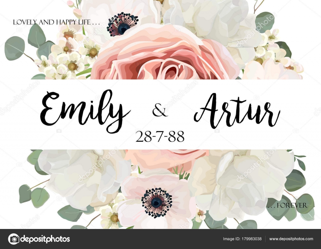 Vector Floral Wedding Invitation Invite Date Card Design Flower ...