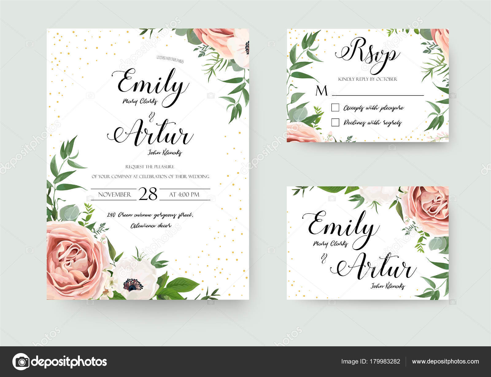 Vector Wedding Invitations: Vetor Floral Convite Convite Obrigado Casamento Rsvp