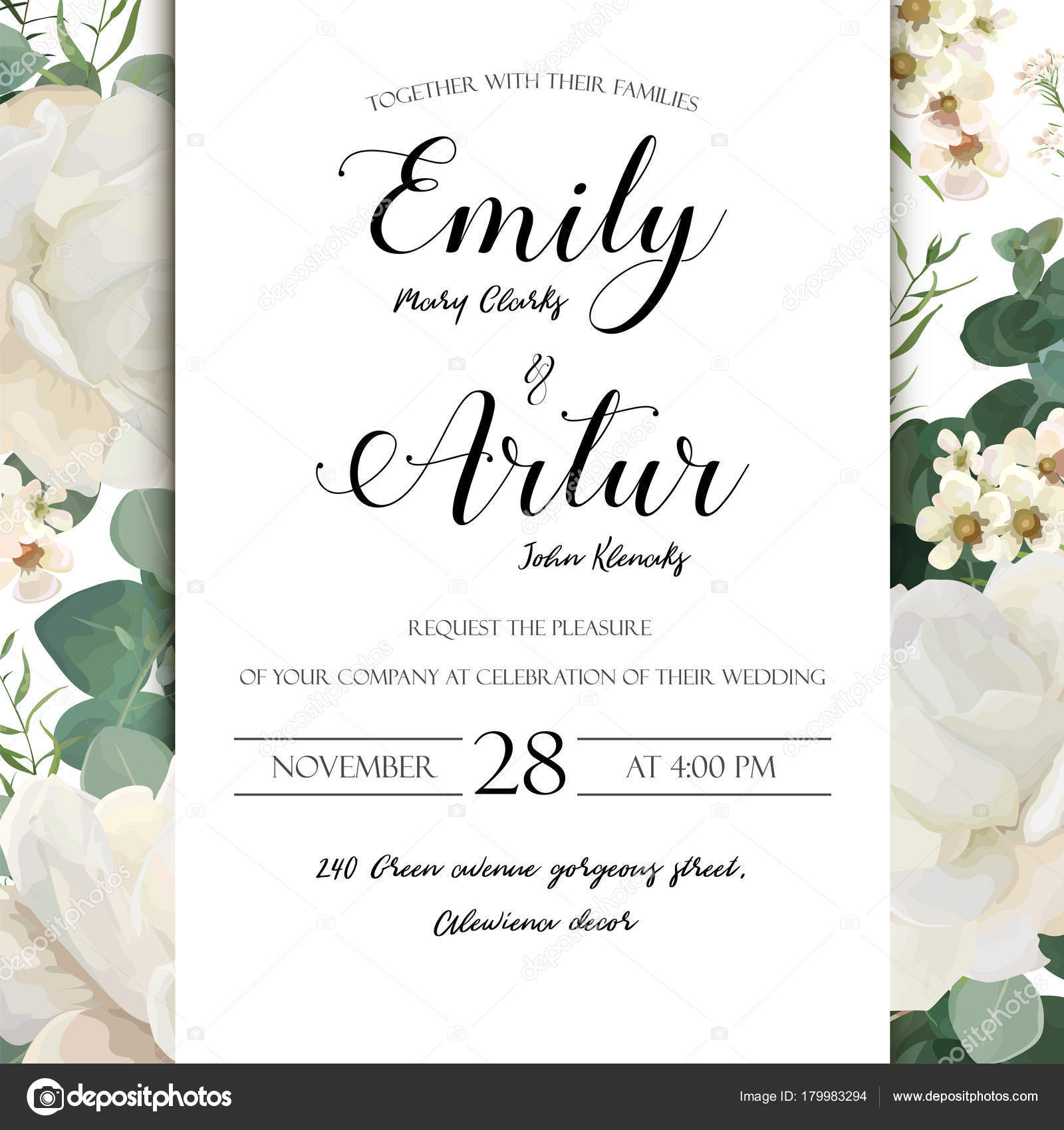 floral wedding invitation save the date card elegant invite card