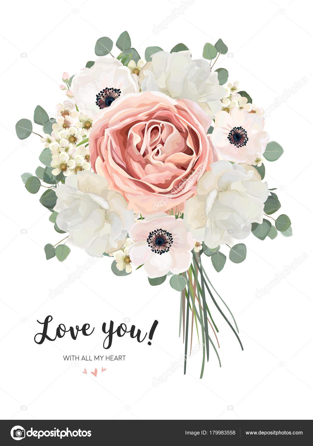 bouquet blumen blumenstrau vektor kartendesign mit bouquet von pfirsich blass rosa anemone. Black Bedroom Furniture Sets. Home Design Ideas
