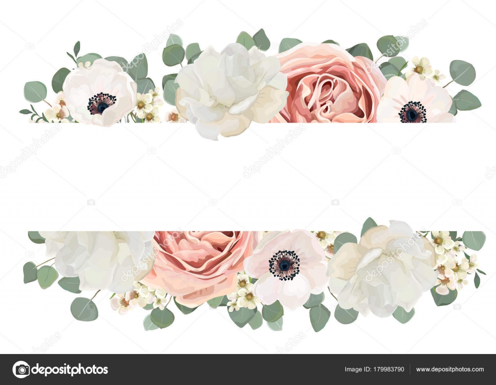 Vector Floral Card Design Flower Bouquet Peach Pink Powder White ...