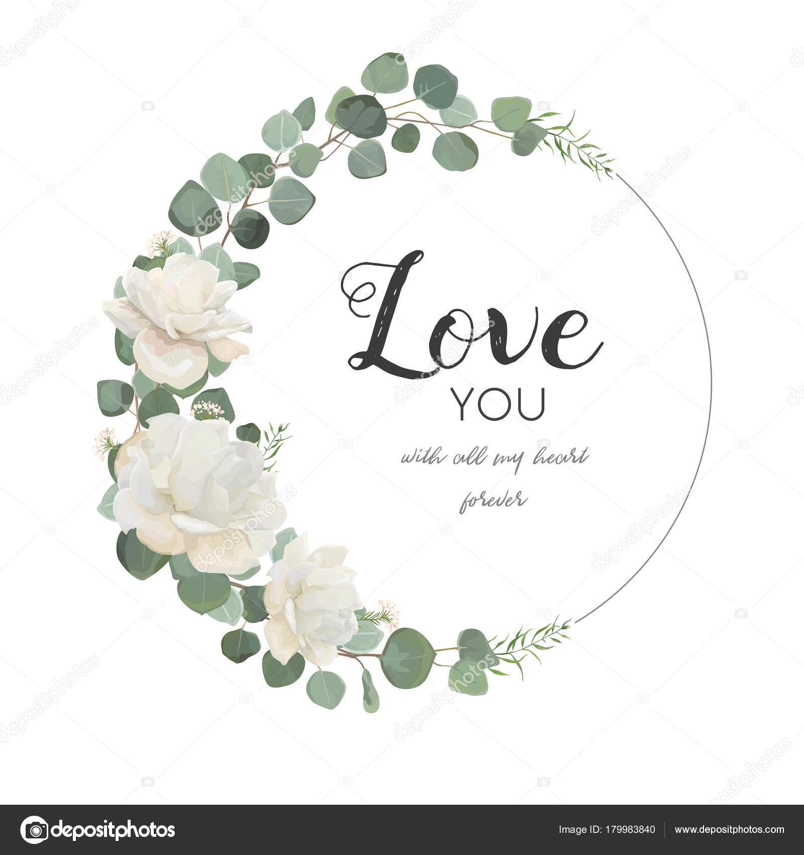 Carte de vecteur de dessin floral white rose branche d - Branche d eucalyptus ...