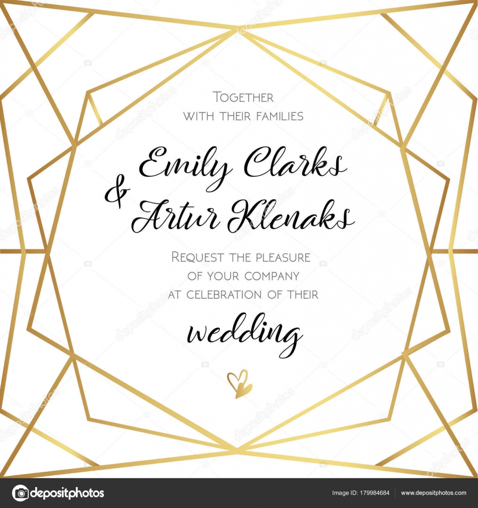 Wedding Invitation, invite card design with Geometrical art lines ...
