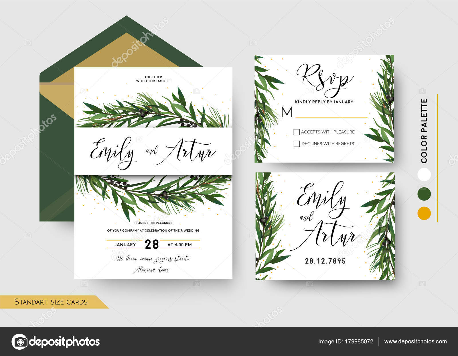Wedding Invitation save the date, rsvp invite card Design: Pine ...