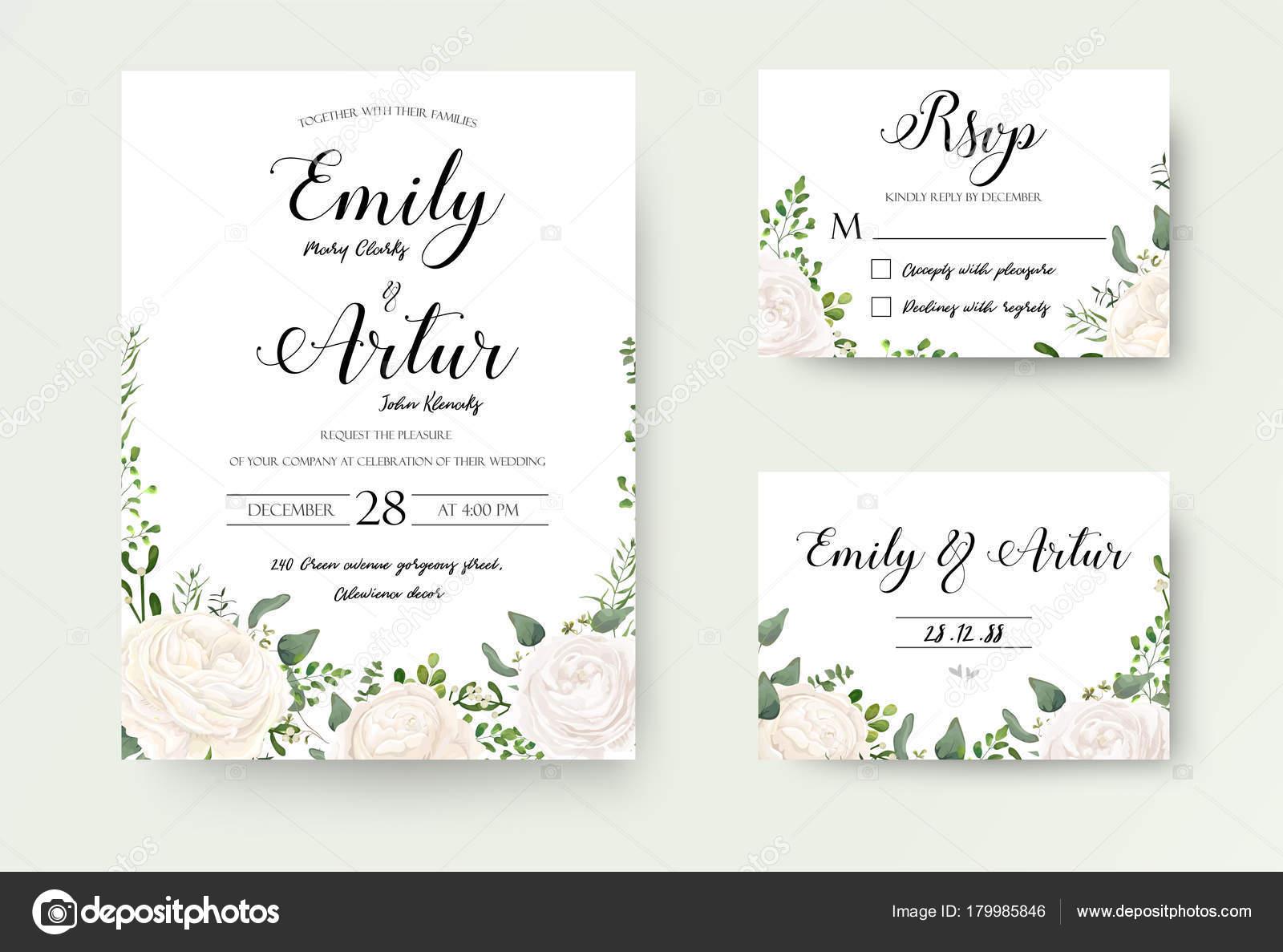 Wedding Invitation Floral Invite Rsvp Cute Card Vector Designs Set