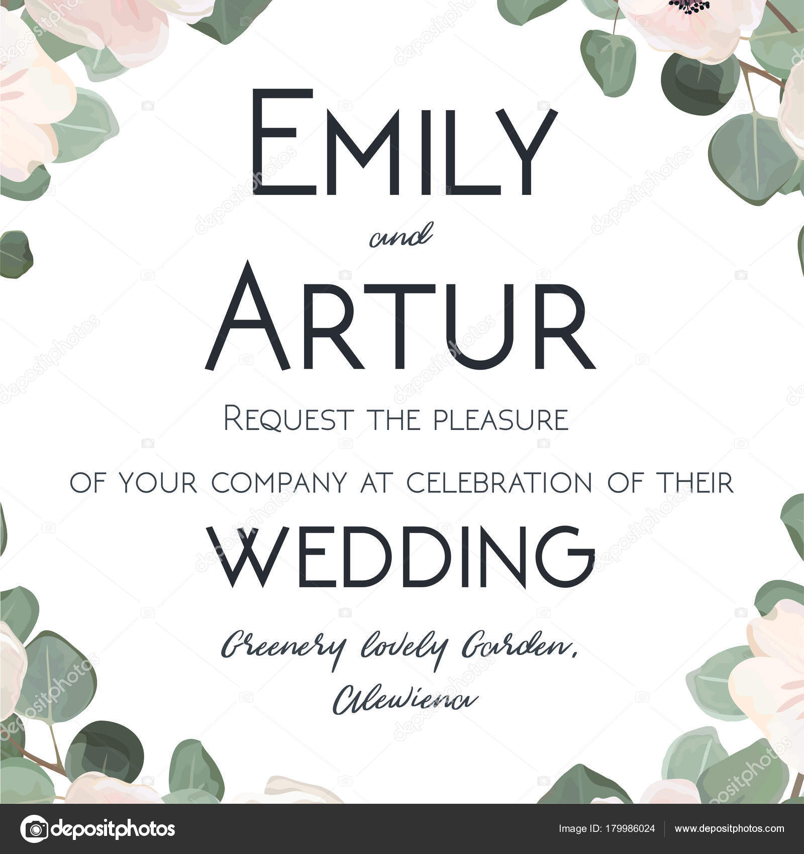 Wedding Invitation floral invite card watercolor hand drawn design ...