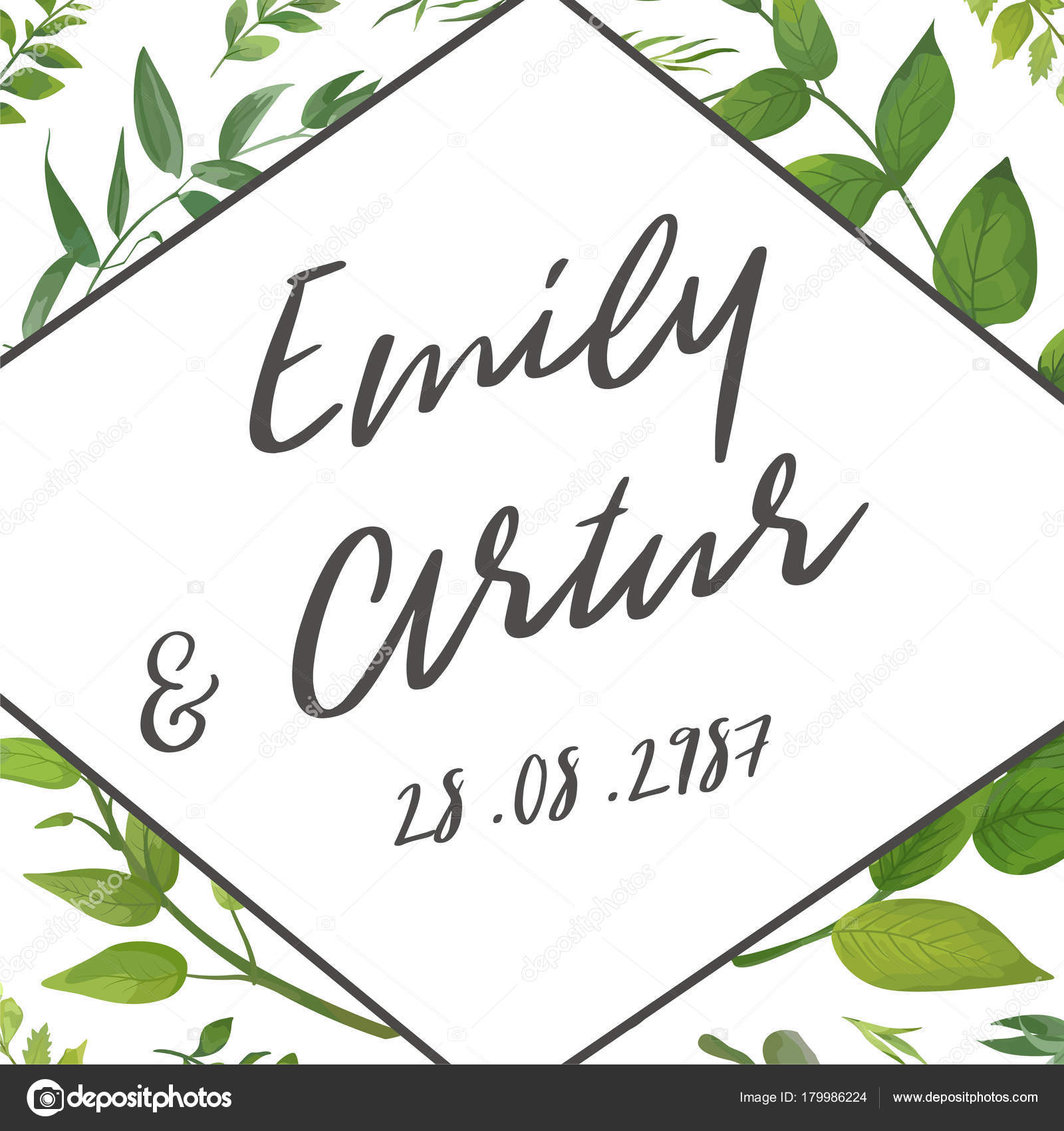 Green Fern, Forest Leaves Herbs, Greenery Plant Mix. Natural Botanical  Greeting Editable Template. Geometrical Gray Frame, Border U2014 Vector By  Alewiena  Editable Leaf Template