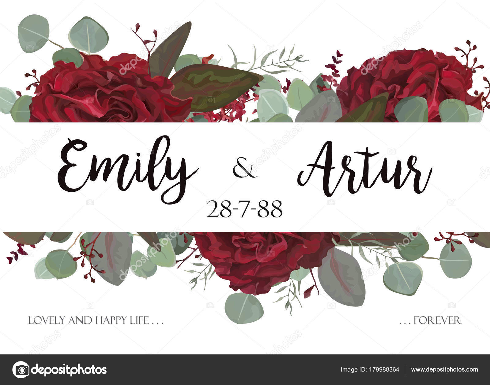 Wedding invite, invitation, thank you, greeting rsvp card. Vector ...