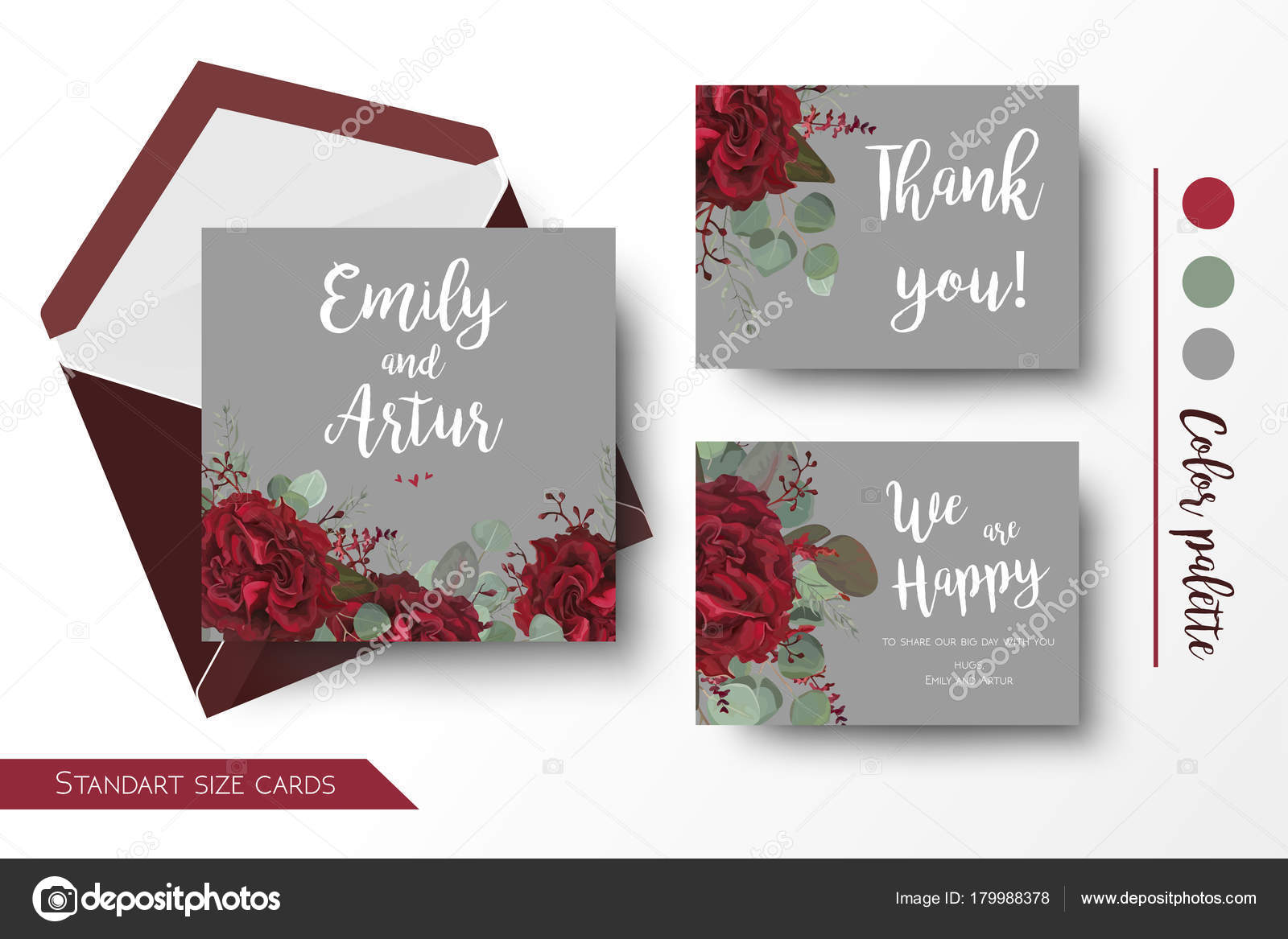 Wedding Invite Invitation Thank You Greeting Rsvp Card Set Vector ...