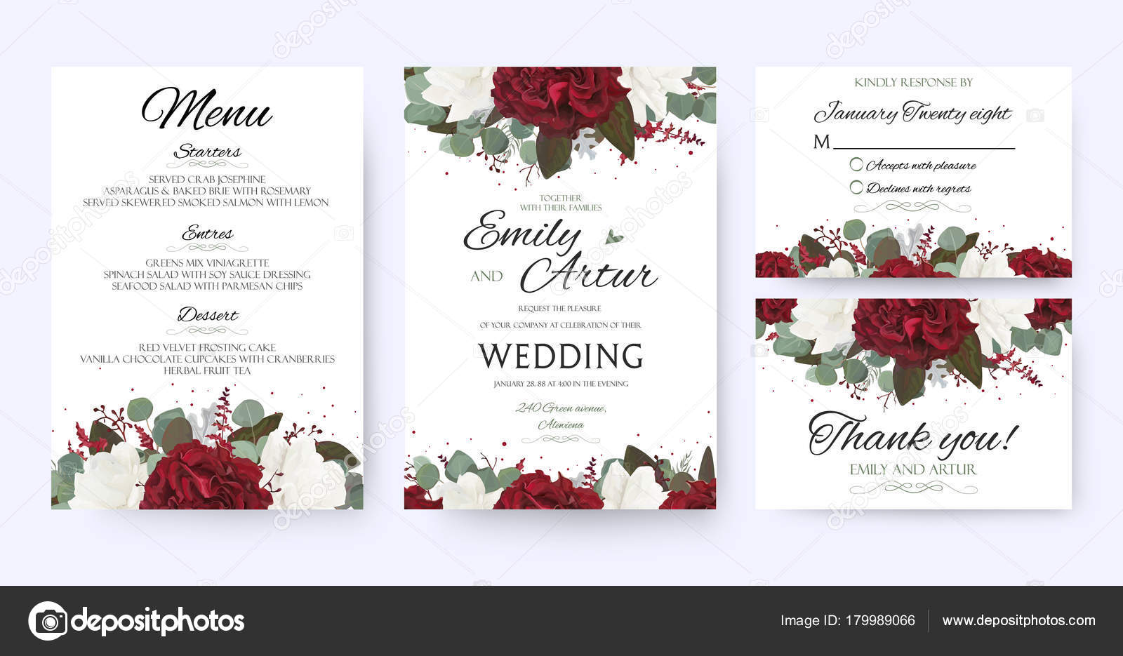 Wedding invite, invitation, save the date card with vector floral ...