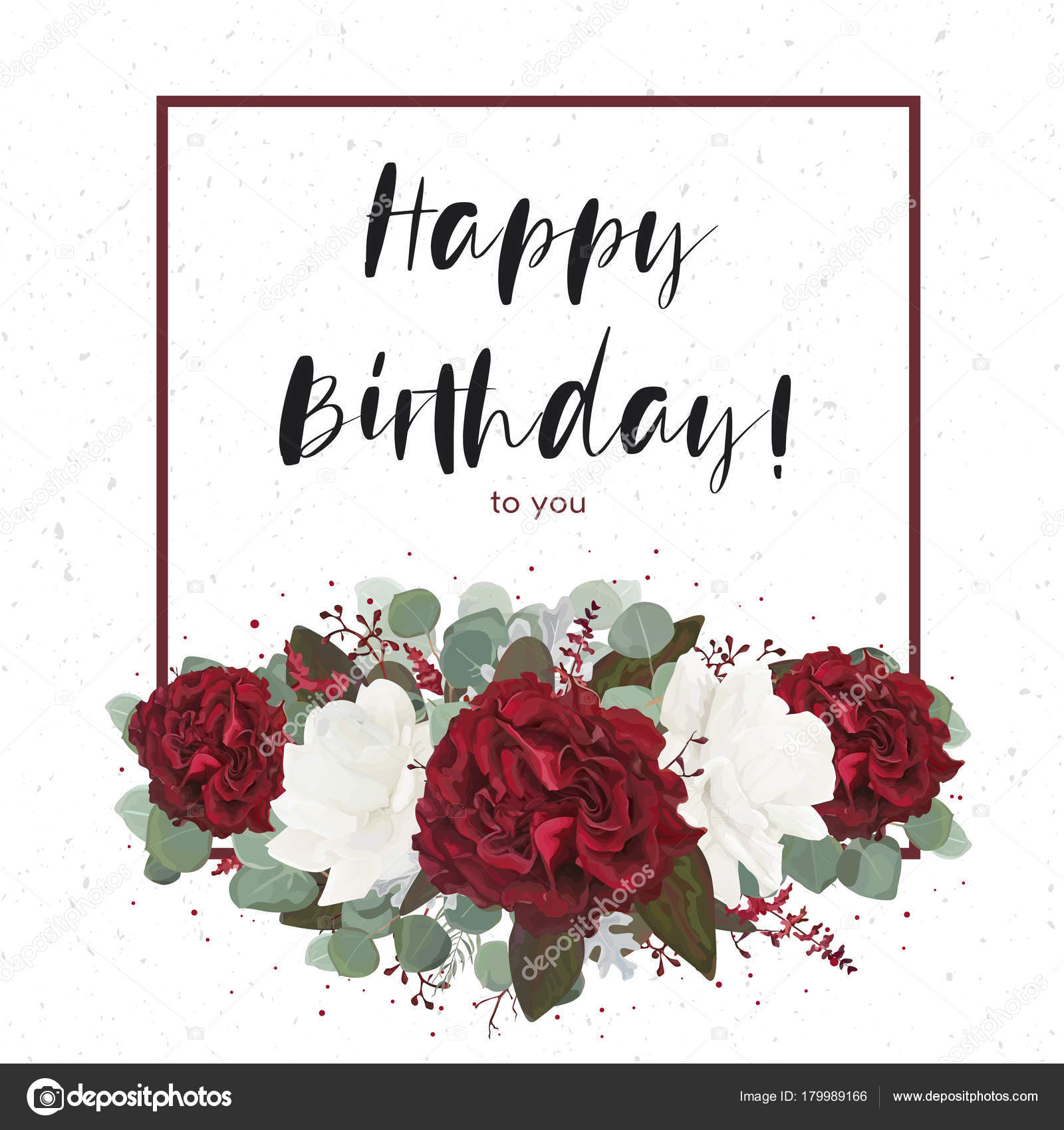 Floral Happy Birthday Greeting Gift Card Design With Vector Watercolor Bouquet Decorative Frame Garden Red Burgundy Rose Flowers