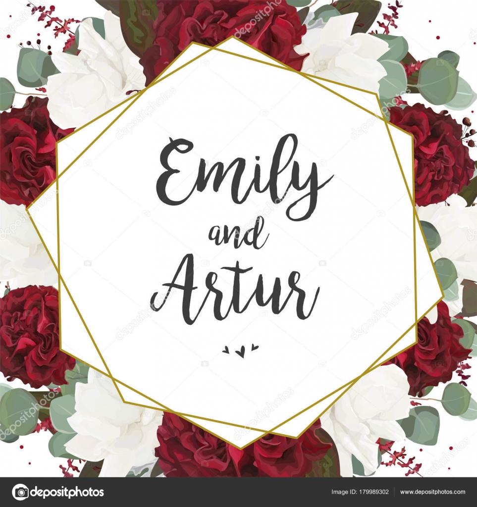 Wedding invite, invitation, save the date card design: white red ...