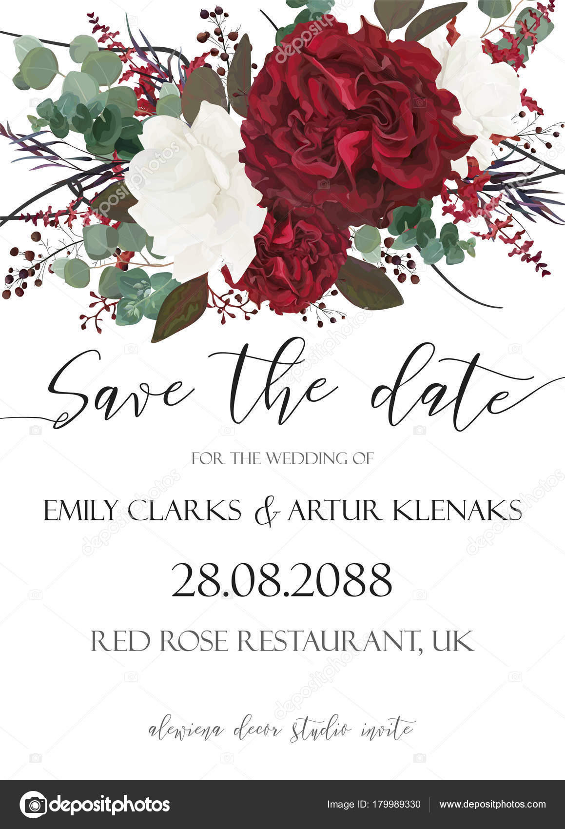 Wedding save the date, invite, invitation, card vector floral ...