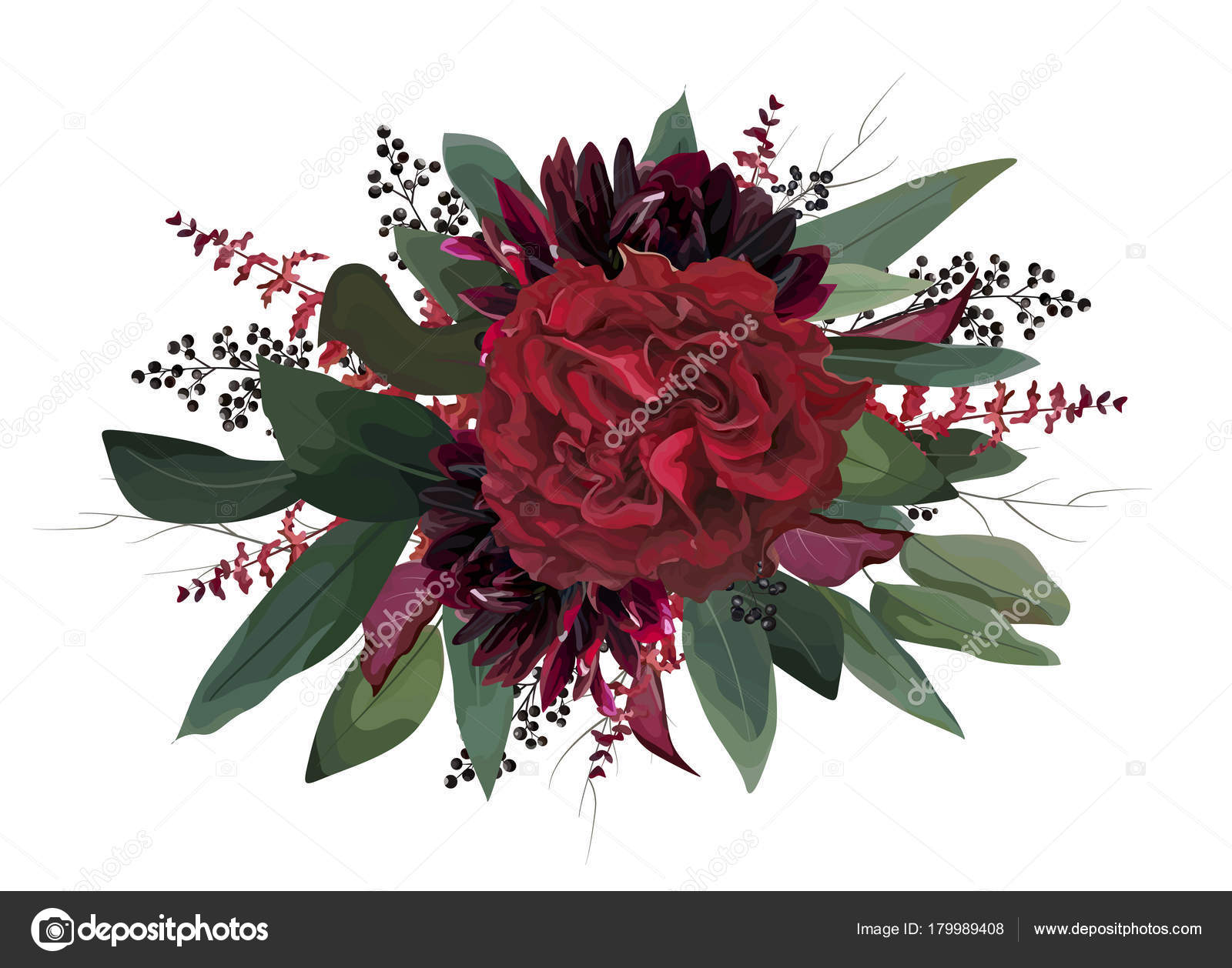Vector floral bouquet design: garden red, burgundy Rose purple ...