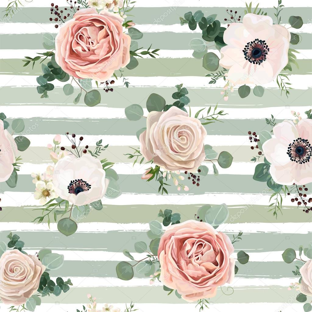 Seamless Pattern Vector Floral Watercolor Design Garden Powder White Pink Anemone Flower Silver Eucalyptus Green Thyme Herb Wax Greenery Leaves Berry Rustic Background Stripped Blue Green Pale Print Premium Vector In