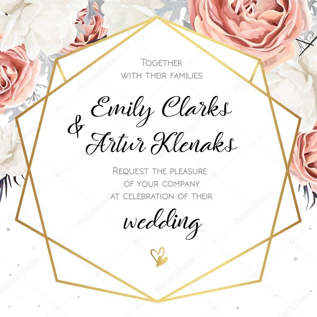 Vector floral wedding invitation invite card design with