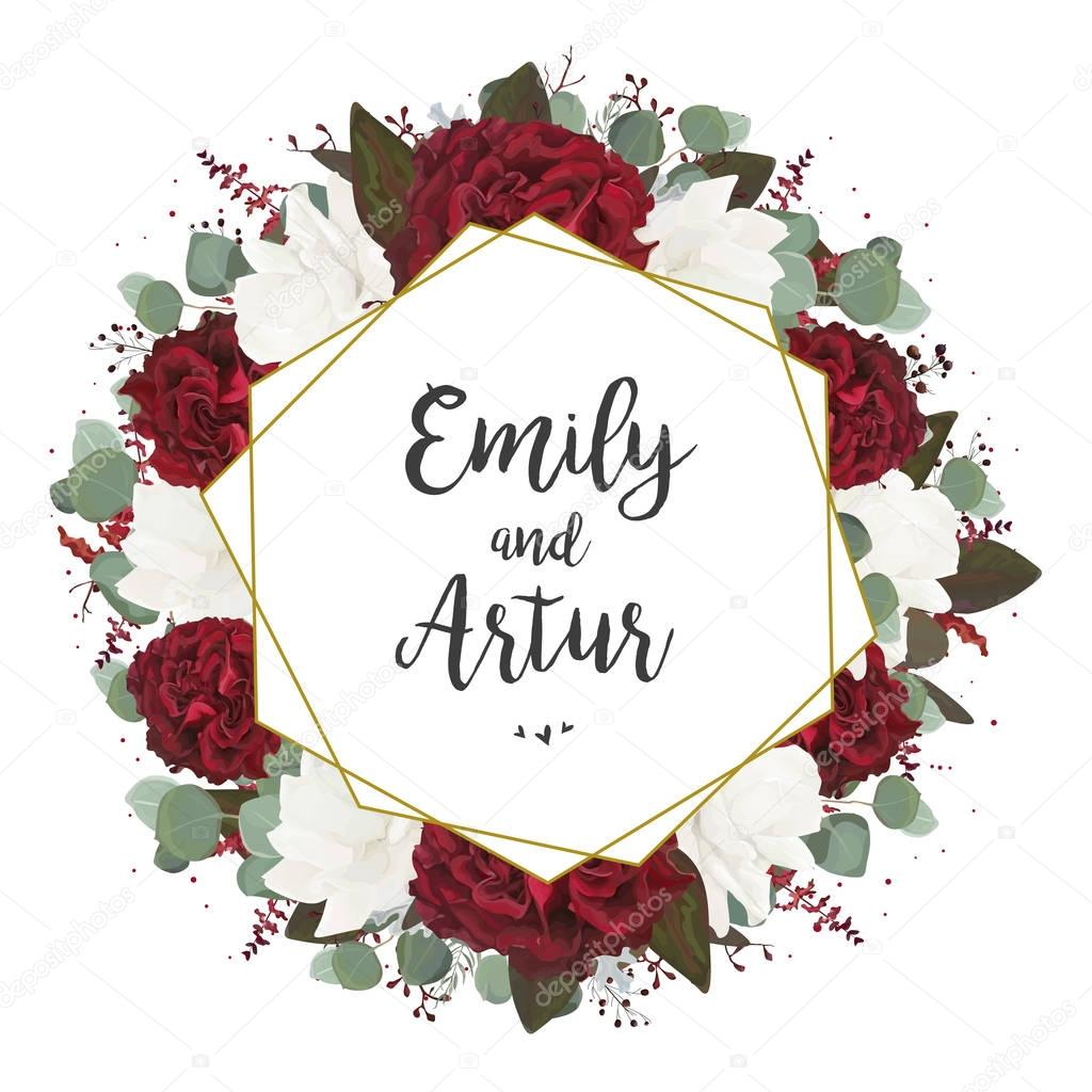 Wedding invite, invitation, save the date card design ... Red And White Wedding Invitations Templates