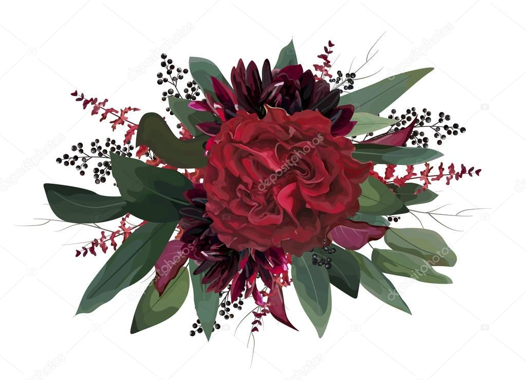 Vector floral bouquet design: garden red, burgundy Rose purple dahlia flower, Eucalyptus green tree leaf branch greenery, amaranthus & black berries. Watercolor designer element. Wedding invite card