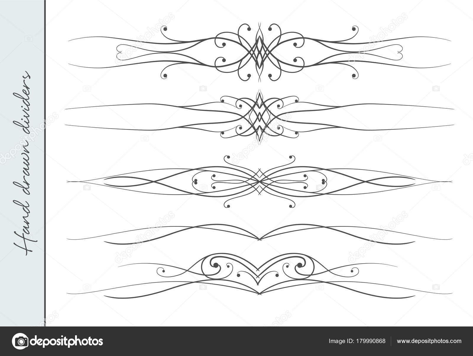 Vektor-schöne Hand gezeichnete elegante gedeihen, Text-Teiler ...