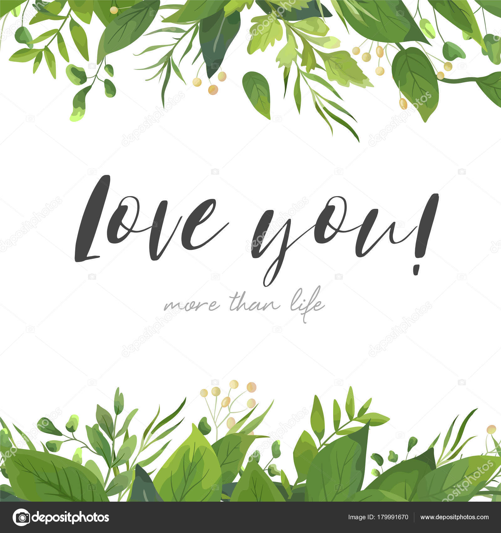 Tropical Forest Greenery Herbs Decorative Frame Border Elegant Romantic Greeting Invitation Postcard Template Love You Text Vector By Alewiena