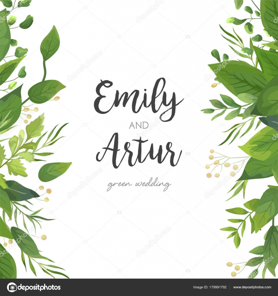 Wedding Invitation Save The Date Card Floral Design With Green