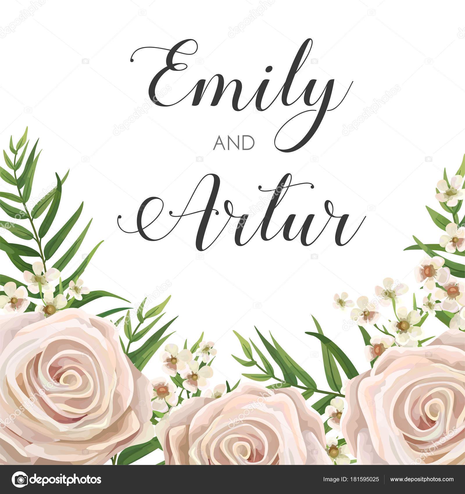 Wedding Invitation Floral Invite Card Design With Creamy White
