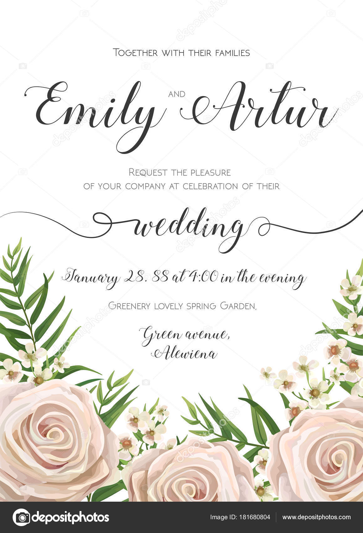 Wedding Invitation floral invite card Design with creamy white