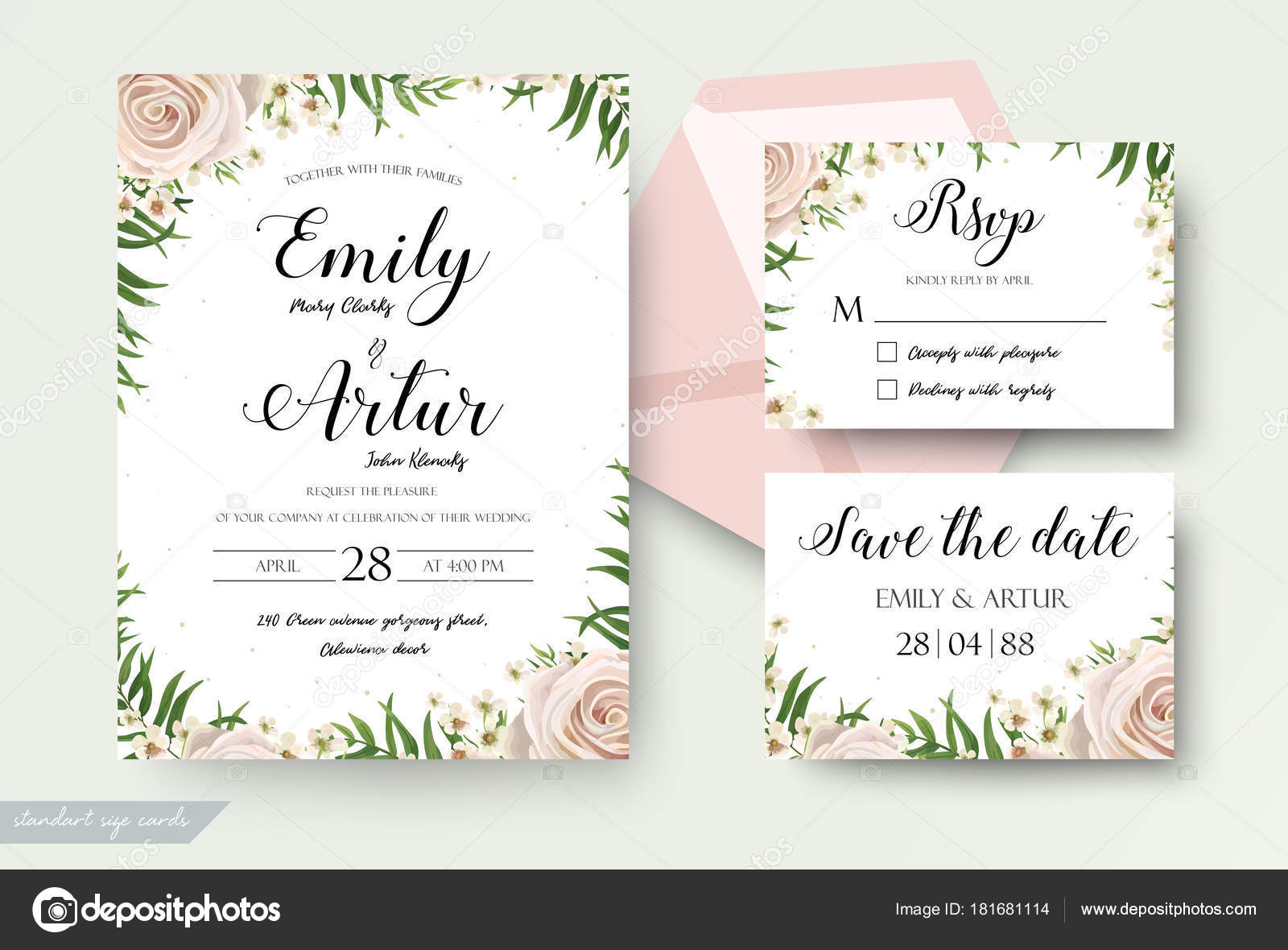 Wedding floral watercolor style invite, rsvp save the date thank you ...