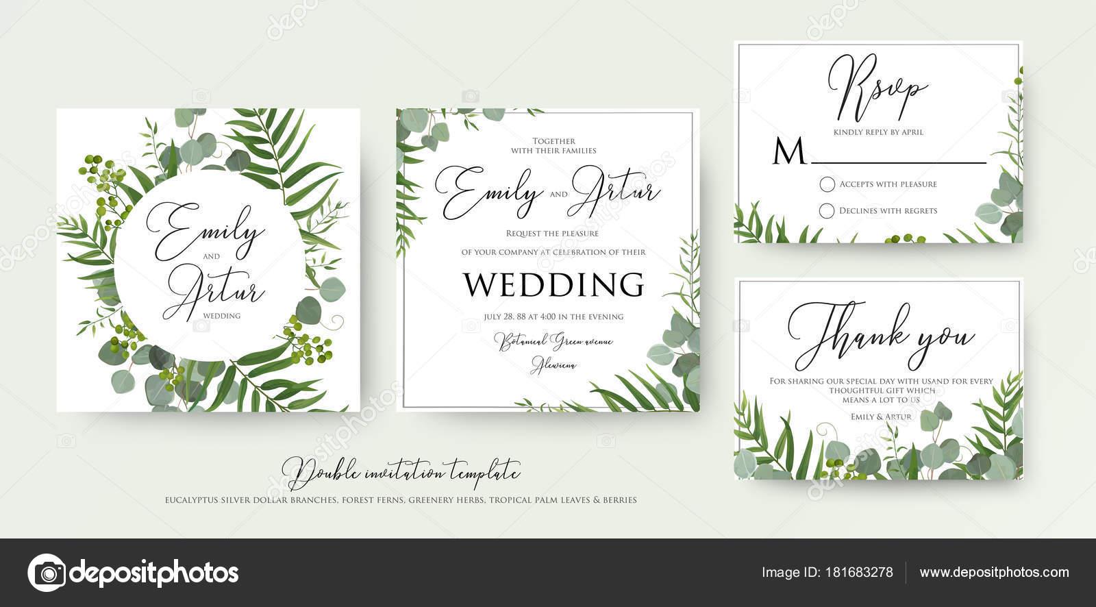 Mariage Invitation, invitation florale, je vous remercie, rsvp