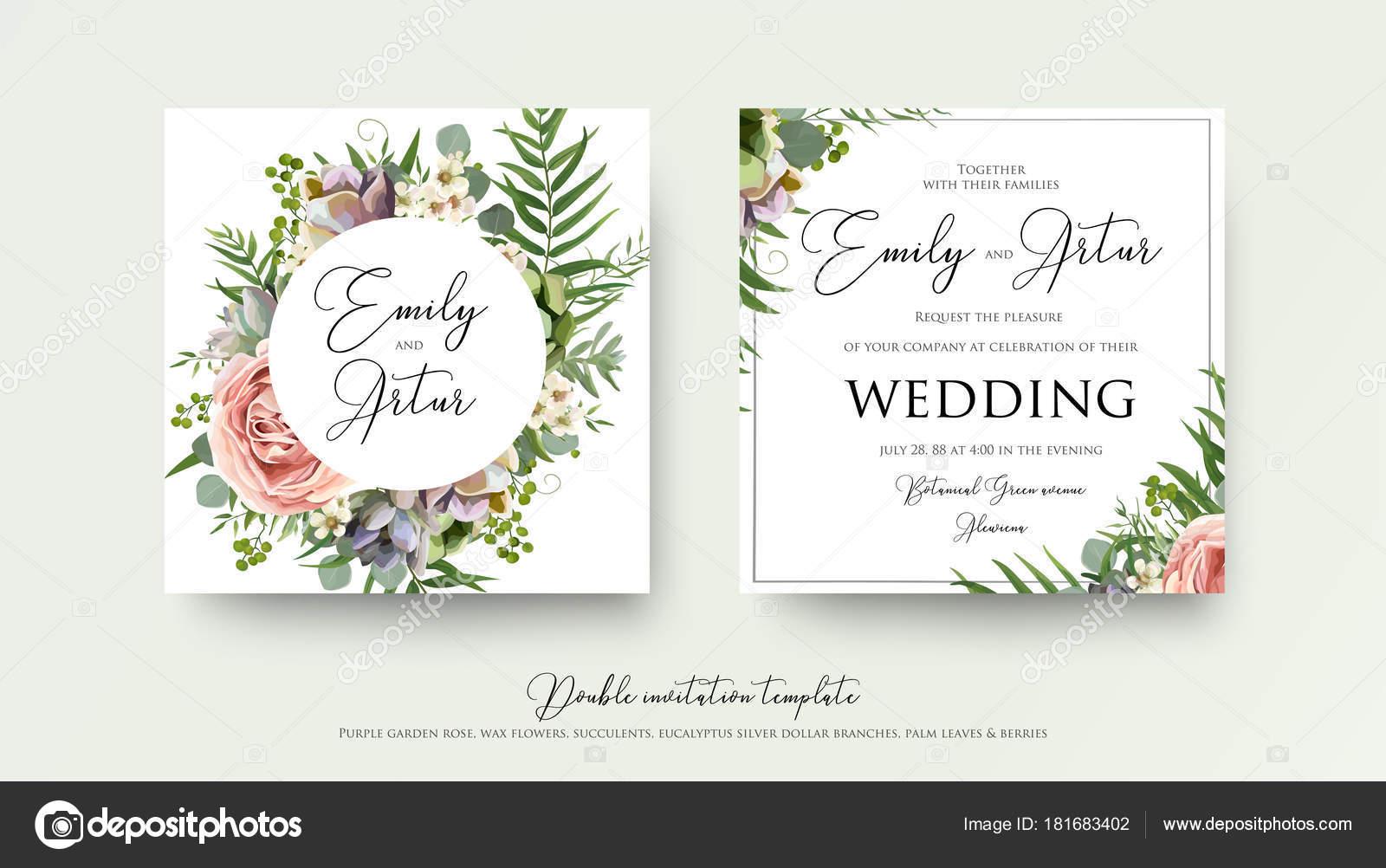 Elegant Hochzeit Blumen Einladung Einladungskarte Design Mit Lavendel Rosa Violett  Garten Rose, Zweige Grünen Tropischen Palmen