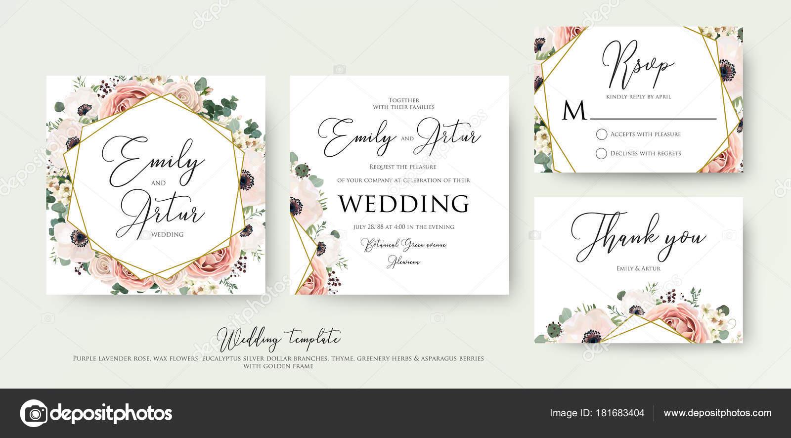 Floral Wedding Invitation elegant invite, thank you, rsvp card ...