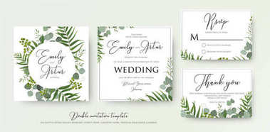 Wedding Invitation, floral invite, thank you, rsvp modern card Design: green tropical palm leaf greenery, eucalyptus branches, foliage decorative frame print. Vector elegant watercolor rustic template