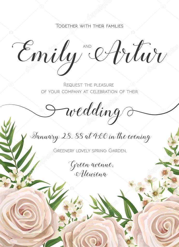 Wedding Invitation, floral invite card Design with creamy ...