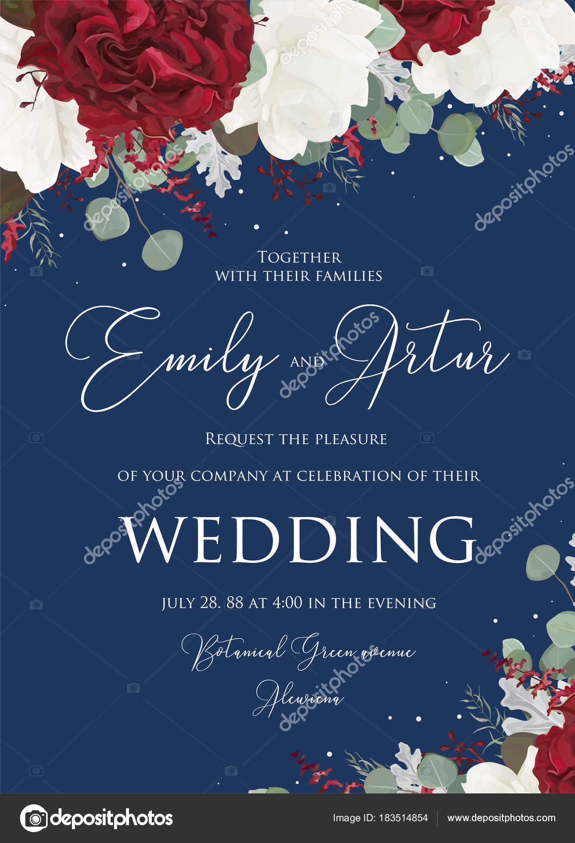 Hochzeit Blumen Laden Stieg Einladung Speichern Das Datum