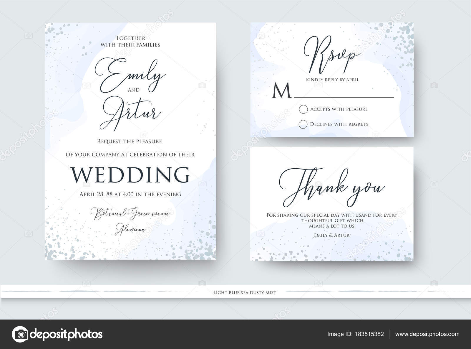 Wedding Invite Thank You Rsvp Card Design Set With Abstract