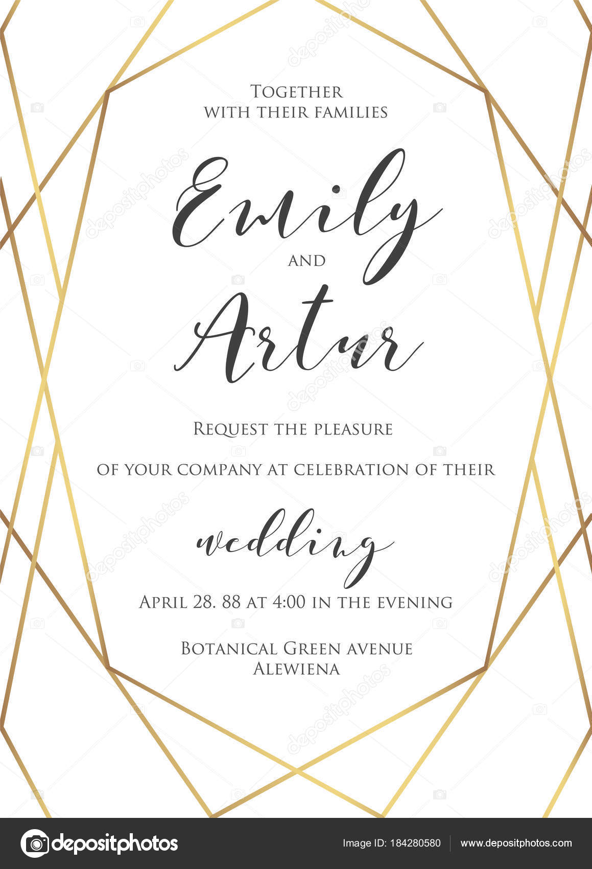 Wedding invite invitation save the date card delicate design with wedding invite invitation save the date card delicate design with elegant vector golden foil geometrical stopboris Image collections
