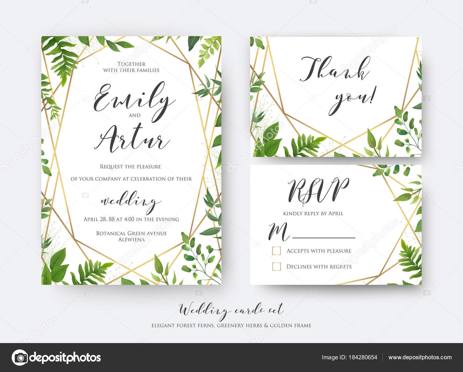 Wedding floral invite invitation rsvp thank you card template set vector modern botanical card design with green forest fern leaves greenery herbs border with luxury geometrical golden decoration vector by alewiena stopboris Choice Image