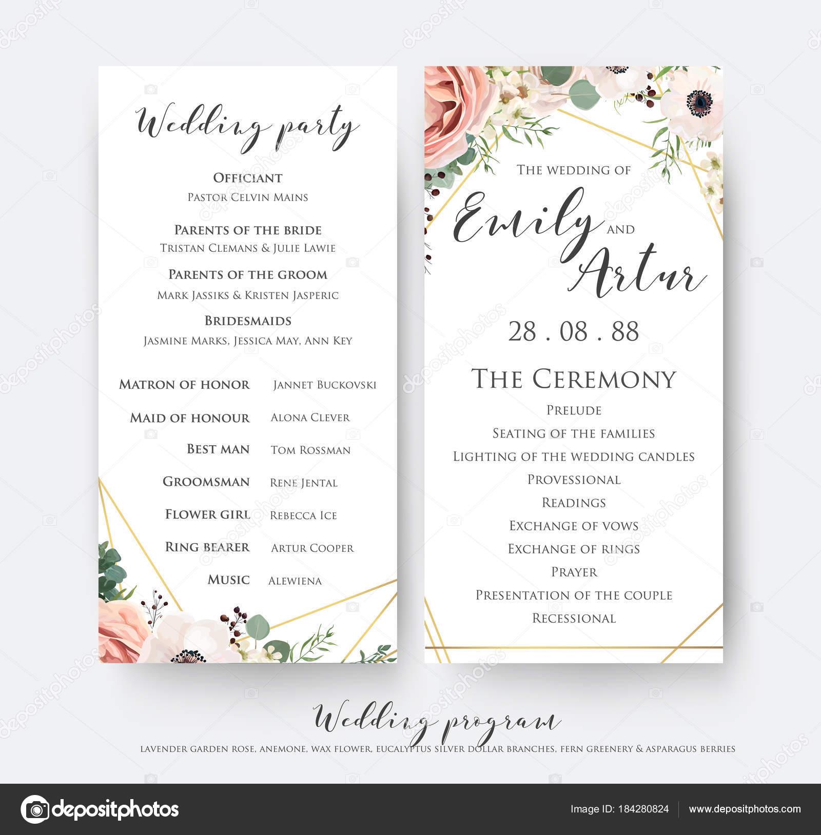 Wedding program for party & ceremony card design with elegant ...