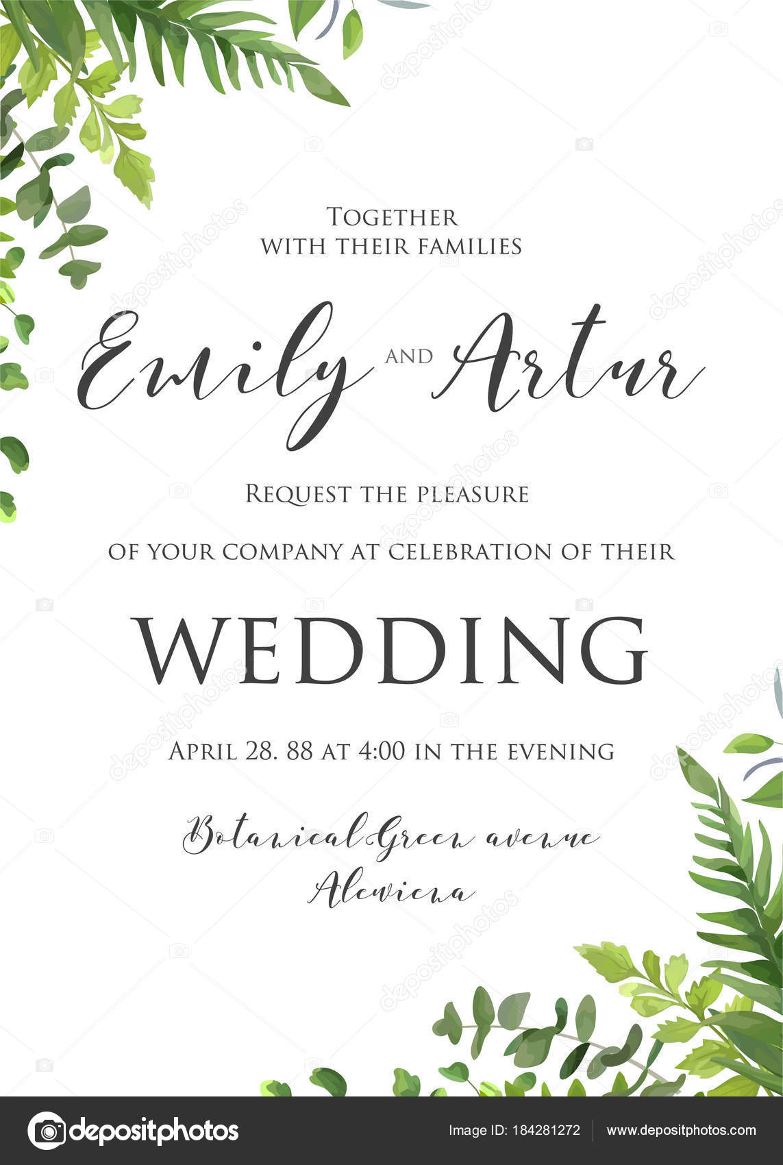 The Date Card Floral Design With Green Fern Leaves Forest Plants Greenery Herbal Mix Frame Border Beautiful Rustic Template Vector By Alewiena