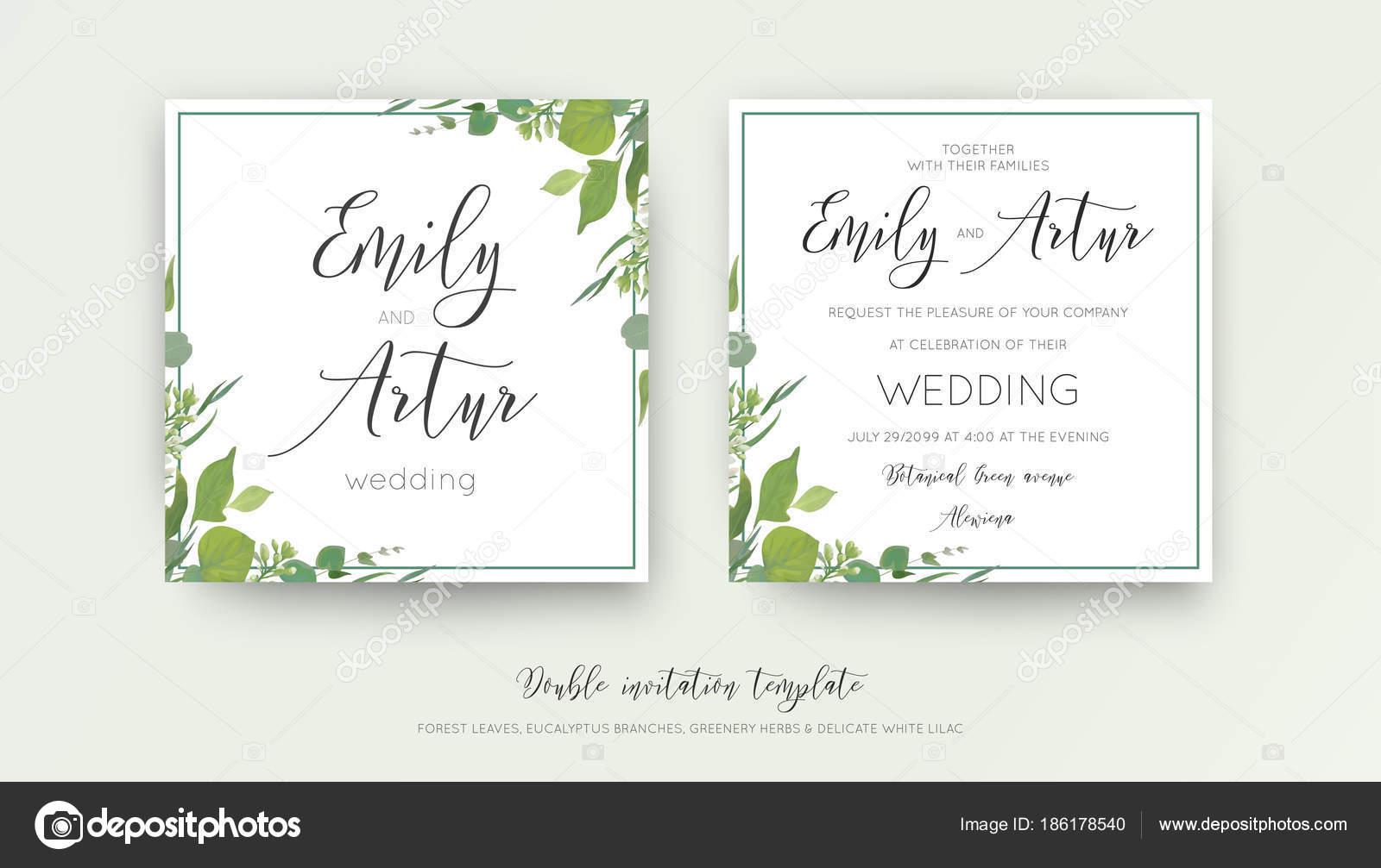 Hochzeit Blumen Aquarell Stil Doppel Einladen, Einladung, Speichern Das  Datum Kartendesign Mit Wald Grün, Kräuter, Blätter, Eukalyptus Zweige, Weiß  Lila ...