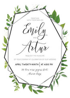 Wedding floral watercolor style botanical invite, invitation save the date card design with forest greenery herbs, vine leaves, ferns and luxury silver, gray geometrical frame. Elegant editable vector