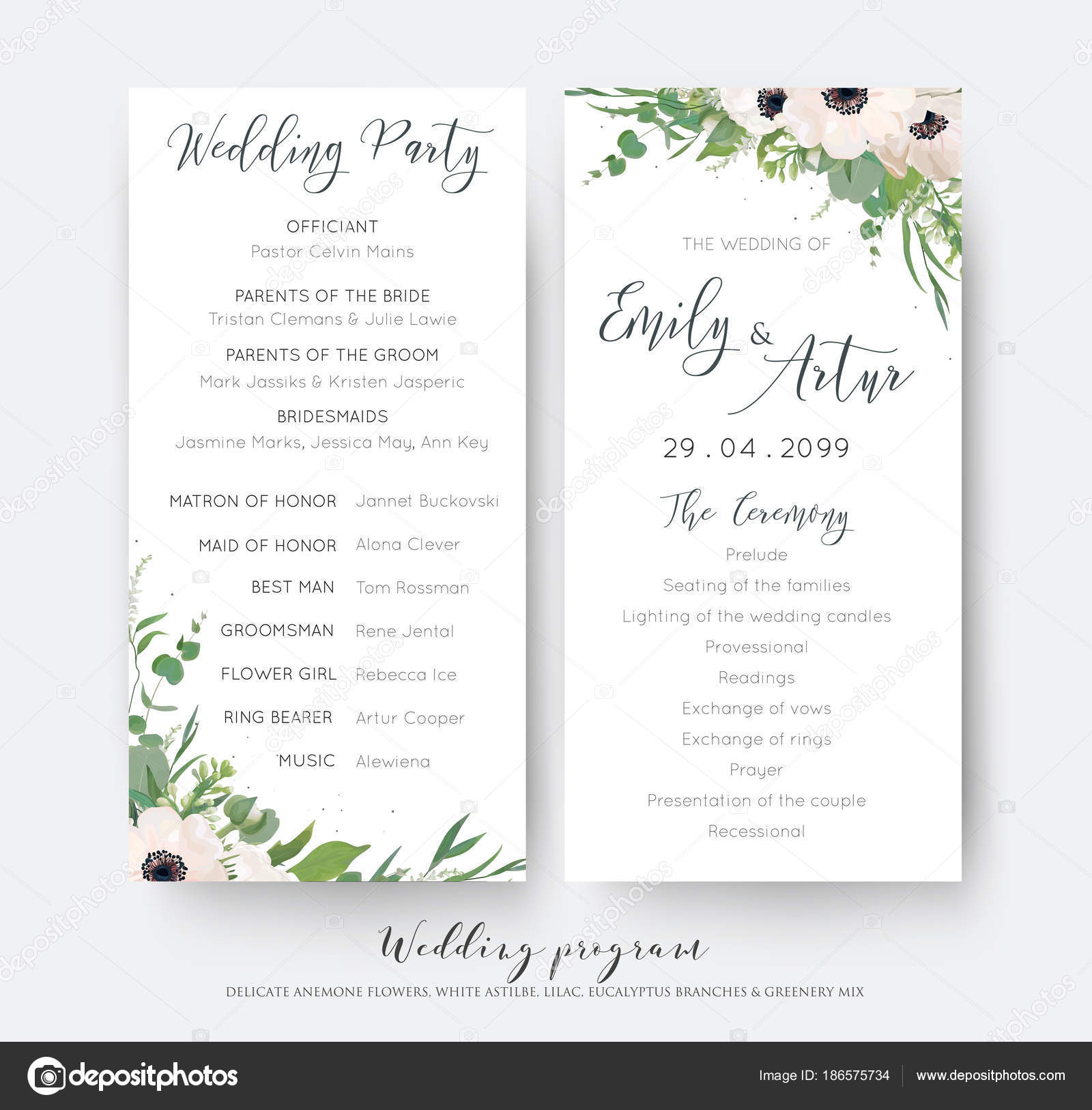 Wedding Ceremony And Party Program Card Elegant Design With